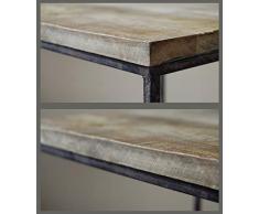 CALUTEA Moderne Vintage Beistelltische/Couchtisch / 2er Set/quadratisch/braunes Mangoholz/Loft Design