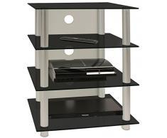 VCM 14115 Hifi-Möbel Blados Rack Regal Tisch, aluminium / schwarzglas