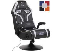 CLP Gaming Soundsessel Sonoma Kunstleder I Sessel Mit 2.1-System Für Gaming Und Musik I Drehsessel Mit Bluetooth schwarz/weiß