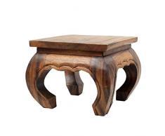Oriental Galerie Opiumtisch Opium Tisch Beistelltisch Massiv Holz Couchtisch Nachttisch Hocker - 30 cm Hellbraun