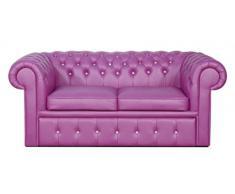 Casa Padrino Echtleder 2er Sofa in violett mit Swarowski Kristallsteinen 180 x 100 x H. 78 cm Chesterfield Schlafsofa
