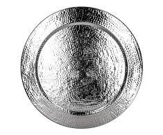 Großes Rundes Tablett aus Metall Nizza Silber 80cm groß | Design Silbertablett Silberfarbig | Serviertablett Rund Rutschfest | als Dekoration auf dem gedeckten Tisch oder Wanddeko im Wohnzimmer