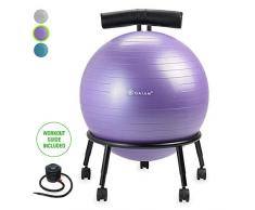 gaiam Custom-Fit Balance Ball Chair - Exercise Stability Ball Adjustable Desk Chair for Home or Office with 55cm Yoga Ball, Air Pump, Exercise Guide and Satisfaction Guarantee, Purple