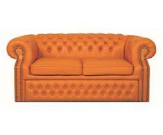 Casa Padrino Echtleder 2er Sofa Orange 180 x 100 x H. 78 cm Chesterfield Schlafsofa