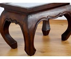 Opiumtisch in dunkelbraun mit Elefantenschnitzerei | Asiatischer Beistelltisch | Couchtisch aus Massivholz | Asiatischer Holztisch der Marke Asia Wohnstudio