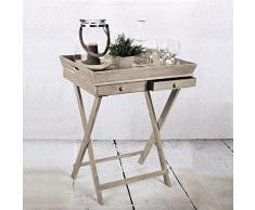 Serviertisch Beistelltisch Tabletttisch Wohnzimmertisch Couchtisch klappbar mit 2 Schubladen und Gestell