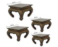 Oriental Galerie Opiumtisch Tisch Beistelltisch Massiv Holz Couchtisch Nachttisch Shishatisch, Farbe:Dunkel Braun Antik, Größe:40x40x35cm (LxBxH)