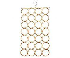 Lumanuby 1 Stück Schalaufhänger aus Metall und Papier Rattan Schal Regal Zufällige Farbe, 28 Schlitze