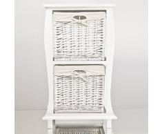 NEG Korbregal LIEVE (weiß) Schubladenschrank/Kommodenschrank aus Echtholz mit Korbgeflecht und Baumwoll-Einlage