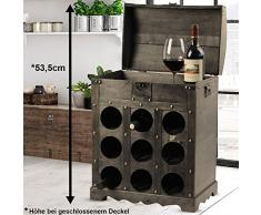 Garden Pleasure Design Wein Flaschen Aufbewahrung Regal Holz Truhe braun Metallbeschlag Kolonial Stil Harms 304004