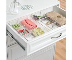 iDesign Aufbewahrungsbox mit 4 Fächern, kleine Schubladenbox aus Kunststoff, Schubladen Organizer für Schrank oder Schminktisch, durchsichtig