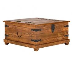 massivum Couchtisch-Truhe Merlin 95x45x95 cm aus massiven Palisander-Holz in braun gewachst mit 2 Klappen