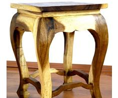 Hoher, natureller Opiumtisch, asiatischer Beistelltisch bzw. Altartisch als Nachttisch, Asia Möbelstück (Thailand, Bali, Indonesien) (ohne Schnitzerei und Glasscheibe)