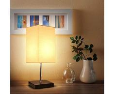 Tischlampe Holz,Nachttischleuchte,Stoff Lampenschirm,Tomshine Tischleuchte für Wohnzimmer,Schlafzimmer,Büro(Ohne Birne)