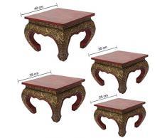 Oriental Galerie Opiumtisch Tisch Beistelltisch Massiv Holz Couchtisch Nachttisch Shishatisch, Größe:30x30x24cm (LxBxH), Farbe:Rot Gold Antik