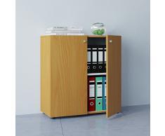 VCM Büroschrank Aktenschrank Bücherregal Universal Ordner Schrank Regal Buche 70 x 70 x 39 cm Vandol Mini