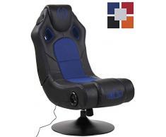 CLP Gaming Soundsessel Taupo Kunstleder I Sessel mit 2.1-System für Gaming und Musik I Drehsessel mit Bluetooth schwarz/blau