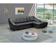 Cavadore Leder-Sofa Lucas / Echtleder-Couch mit Steppung / Longchair rechts / 287 x 81 x 165 (BxHxT) / Leder schwarz