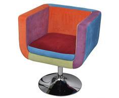 Anself Lounge Sessel Clubsessel Barhocker Cocktailsessel Drehsessel Patchwork Höhenverstellbar