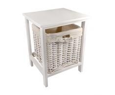 NEG Korbkommode MIRA (weiß) Kommodenschrank/Beistell-Tisch/Korbregal aus Echtholz mit Korbgeflecht und Baumwoll-Einlage