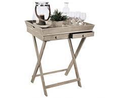 Tablett-Tisch mit 2 Schubladen und Gestell Serviertisch Beistelltisch Serviertablett abnehmbar Landhaus Stil