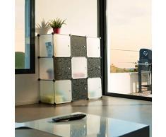 TecTake System Steckregal Schrank Regal Sideboard Kunststoff schwarz weiß