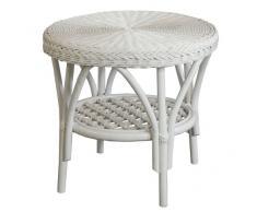 Rattan-Tisch Rund in der Farbe Weiss - Versandkostenfrei in DE