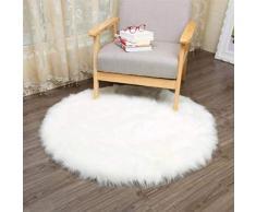 KAIHONG Spitzenqualität Lammfellimitat Teppich, 60 x 60 cm Lammfellimitat Teppich Longhair Fell Optik Nachahmung Wolle Bettvorleger Sofa Matte (Rundes Weiß)