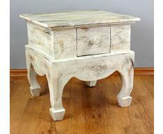 livasia Balinesischer Couchtisch | Opiumtisch | Asiatische Möbel der Marke Asia Wohnstudio | Sofatisch | Kaffeetisch | Beistelltisch | Handarbeit | (weiß)