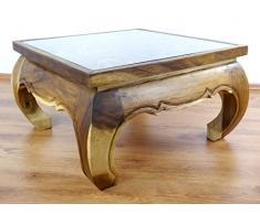Großer Opiumtisch mit eleganter Elefantenschnitzerei, Asiatischer Couchtisch aus Massivholz, Opiumtisch der Marke Asia Wohnstudio