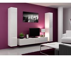 Wohnwand VIGO IV Anbauwand Modernes Wohnzimmer set, Mediawand, Hängeschrank Vitrine, TV-Schrank (Weiß / Weiß Hochglanz)