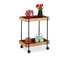 Relaxdays Servierwagen, Teewagen mit 2 Etagen, Bambus & Eisen, Beistelltisch mit Rollen, 57 x 46 x 28 cm, schwarz/natur