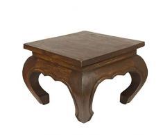Oriental Galerie Opiumtisch Opium Tisch Beistelltisch Massiv Holz Couchtisch Nachttisch Hocker - 25cm Dunkelbraun