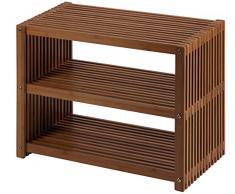 Nicol 9703060 Florian Regal Bambus Faltbares, platzsparend mit 2 Fächern, braun, 60.0 x 45.0 x 30.0 cm