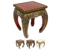 Opiumtisch Beistelltisch Couchtisch 40 x 40 cm Thailand Tisch Holz Rot Antik