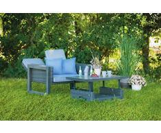 greemotion Rattan-Lounge Bahia Marvao, Sofa & Bett aus Aluminium und Polyrattan, 2er Garten-Sofa inkl. Tisch, Daybed für indoor & outdoor, grau