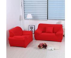 ele ELEOPTION Sofa Überwürfe Sofabezug Stretch elastische Sofahusse Sofa Abdeckung in Verschiedene Größe und Farbe Herstellergröße 195-230cm (Rot, 3 Sitzer für Sofalänge 170-220cm)