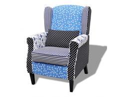 vidaXL Sessel mit Patchwork-Design Stoff Relaxsessel Armsessel Polstersessel
