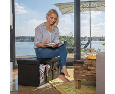 Relaxdays faltbare Sitzbank mit Stauraum in 6 entnehmbaren Fächern HBT: 38 x 76 x 38 cm Sitztruhe aus Kunstleder zum Falten mit Aufbewahrung Ottomane mit entnehmbaren Körben Sitzhocker, schwarz