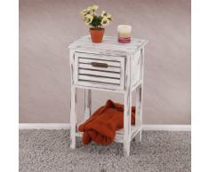 Kommode Beistelltisch Telefontisch, 57x35x27cm, Shabby-Look, Vintage ~ weiß
