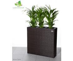 GARTENFREUDE Pflanzkübel Pflanzgefäße Blumenkübel Blumentopf für Blumen etc. Raumteiler Polyrattan inkl. 3 Kunststoffeinsätze für innen und außen, bicolour braun, 76x26x73cm (BxTxH)
