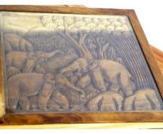 Opiumtisch 54x54cm) aus Suar Holz mit Elefantenschnitzerei, Beistelltisch bzw Couchtisch aus Asien (Thailand, Bali)