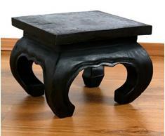 Kleiner Opiumtisch 24 x 24cm in schwarz, Beistelltisch, als Couchtisch oder Nachttisch, Holztisch aus Massivholz, asiatische Kolonialstil Möbel