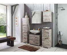 Schildmeyer 125631 Highboard, 81 x 95 x 32 cm, Eiche antik dekor