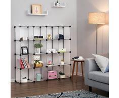 SONGMICS 16 Würfel Regalsystem, Schuhregal, DIY Würfelregal, stapelbar, Steckregal aus PP-Kunststoff, Garderobe, Raumteiler, für Schlafzimmer, Büro, weiß LPC44L