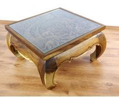 Opiumtisch in naturbraun mit Schnitzerei. Beistelltisch aus Asien. Asiatisches Möbelstück aus Handarbeit. Asiatischer Couchtisch aus Massivholz. Echter Massivholztisch im Kolonialmöbelstil. Holzelefanten, Elefanten aus Holz Motiv (76 x 76 x 42 cm)