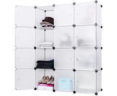 Songmics® DIY Regalsystem Aufbewahrung Regal Steckregal Schrank Kleiderschrank Kapazität 600L Weiß 148 x 112 x 37 cm LPC34W