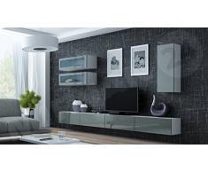Wohnwand VIGO XI Anbauwand Modernes Wohnzimmer Set, Farbauswahl, Mediawand,  Glasvitrine, Hängeschrank TV