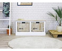 My Flair Riviera Schuhkommode/Sitzbank / Sideboard, französicher Landhausstil mit Shabby-Chic, 0784JO