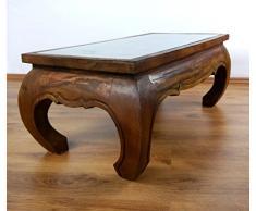 Großer Opiumtisch mit eleganter Elefantenschnitzerei, Asiatischer Couchtisch aus Massivholz der Marke Asia Wohnstudio, Asiatisches Möbelstück im Naturton. Asiatischer Couchtisch aus Massivholz